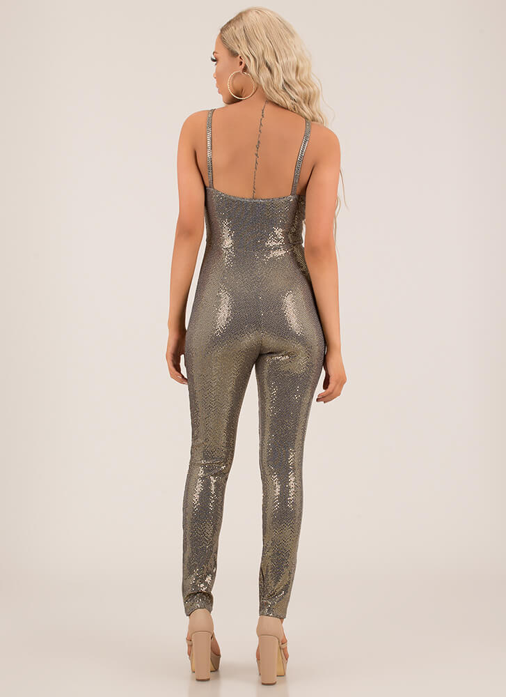 Sparkle All The Way Sequined Jumpsuit GOLD