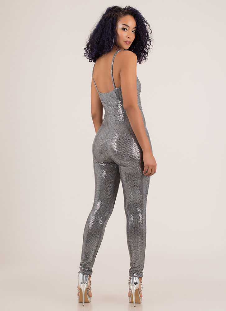 Sparkle All The Way Sequined Jumpsuit SILVER