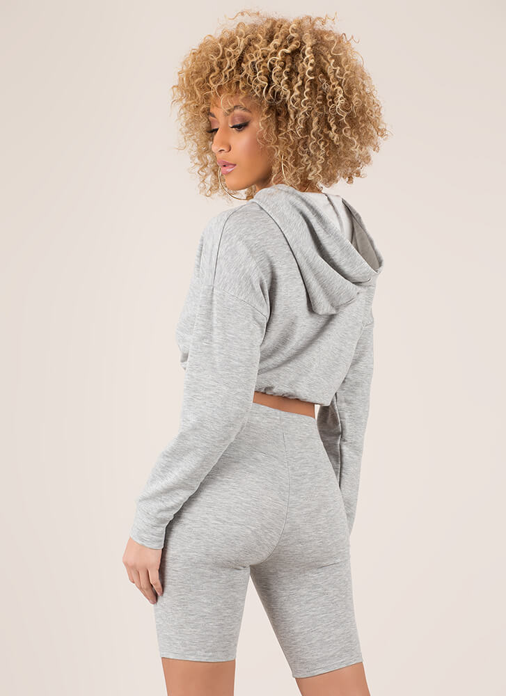Cute And Carefree Hoodie And Shorts Set HGREY