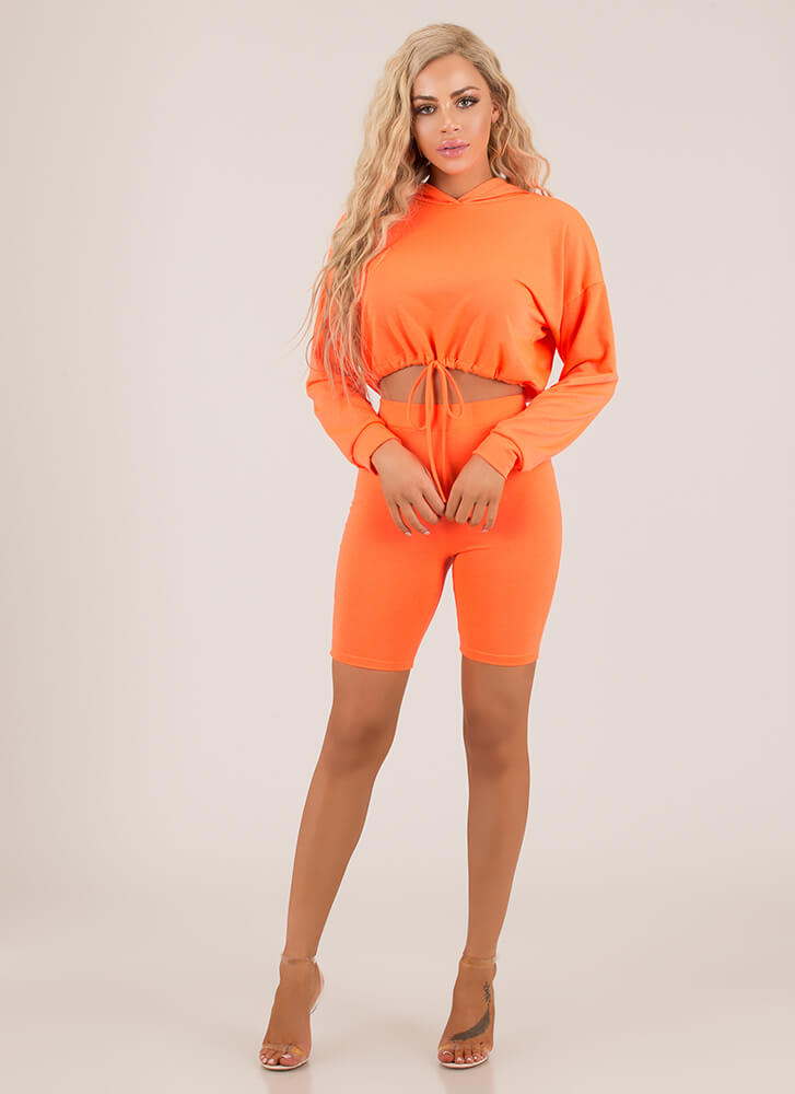 Cute And Carefree Hoodie And Shorts Set ORANGE