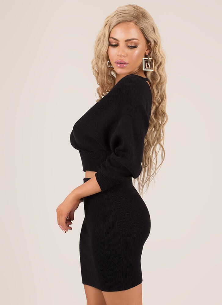 The Knit Factor 2-Piece Sweater Dress BLACK