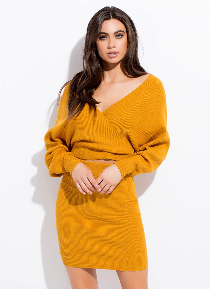 The Knit Factor 2-Piece Sweater Dress MUSTARD