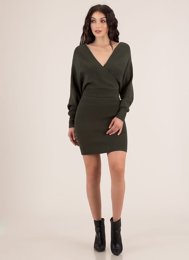 The Knit Factor 2-Piece Sweater Dress OLIVE