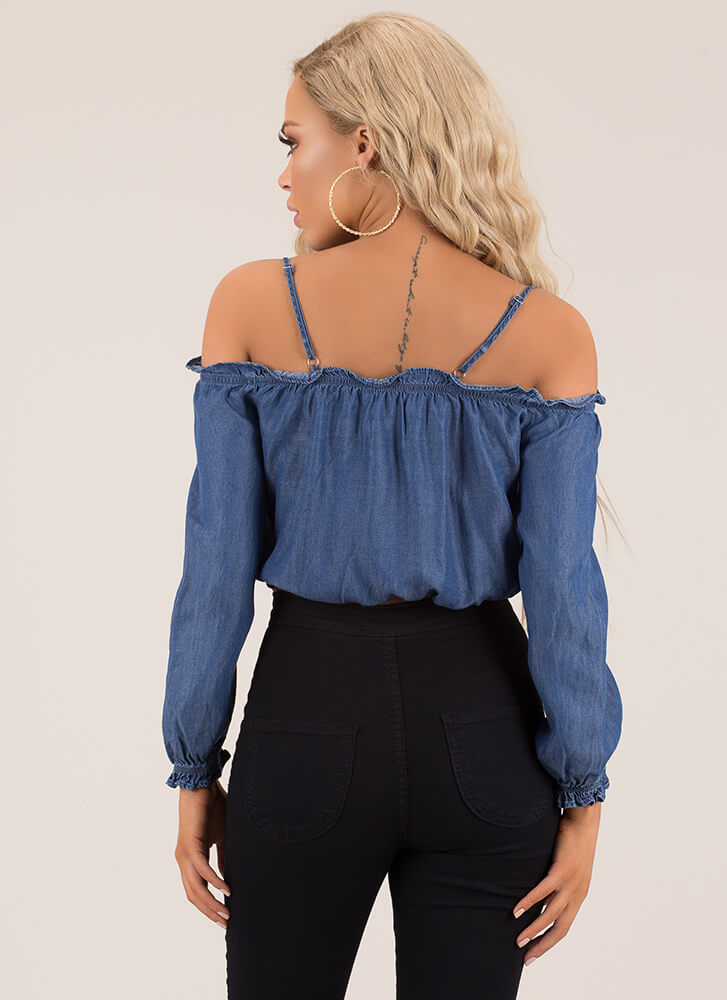 Cutie Pie Cold-Shoulder Chambray Top DKBLUE