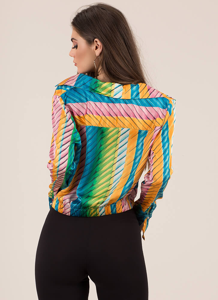 Fine Lines Striped Collared Crop Top MULTI