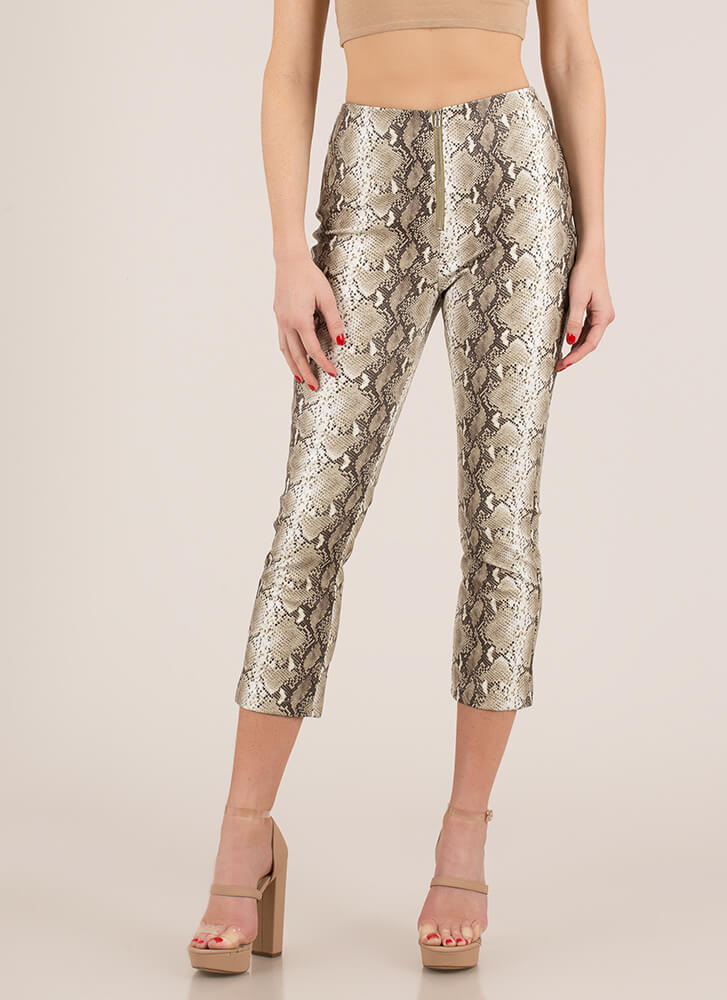 Slither Cropped Faux Snake Skinny Pants BROWN