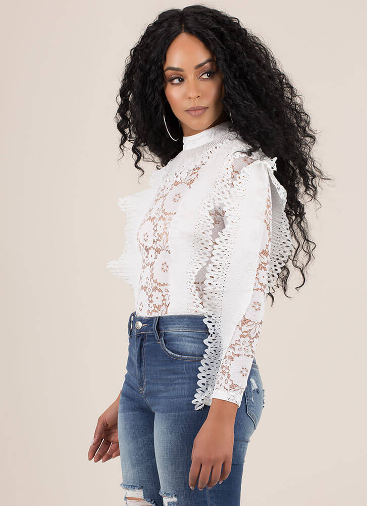 Ace Of Lace Ruffled Floral Bodysuit WHITE