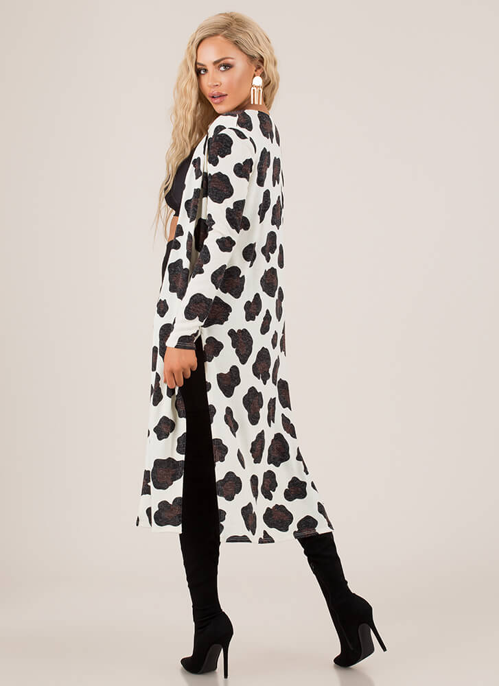 Have A Cow Spotted Double Slit Duster IVORY