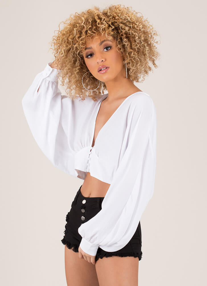 Romeo Cropped Puffy Sleeve Blouse WHITE