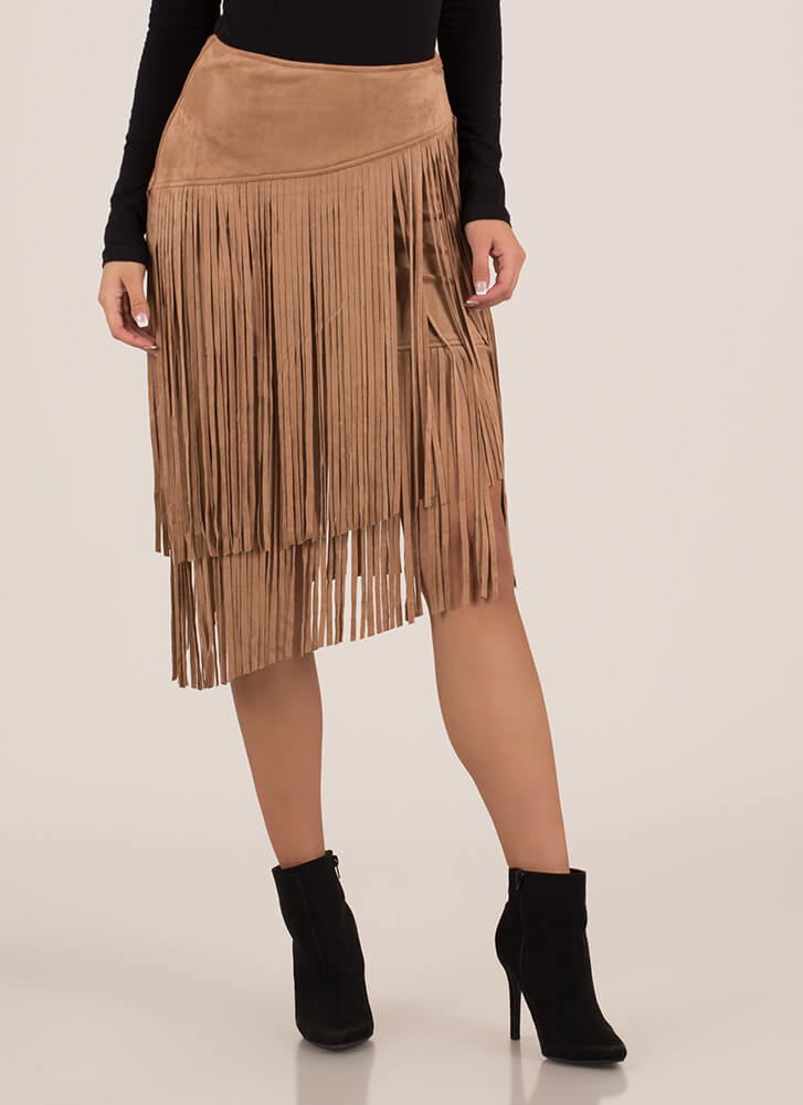 Boho Princess Fringed Faux Suede Skirt TAUPE