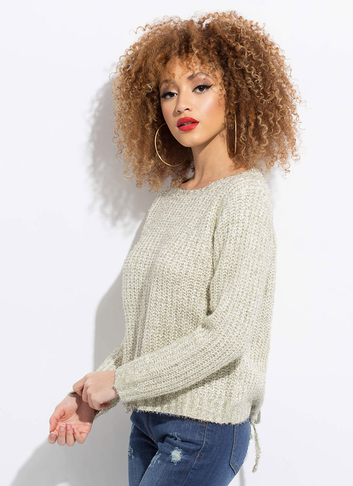 My Turn Fuzzy Lace-Back Sweater IVORY