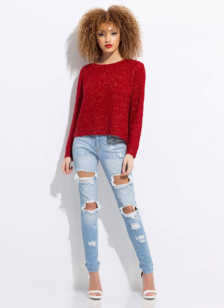 My Turn Fuzzy Lace-Back Sweater RED