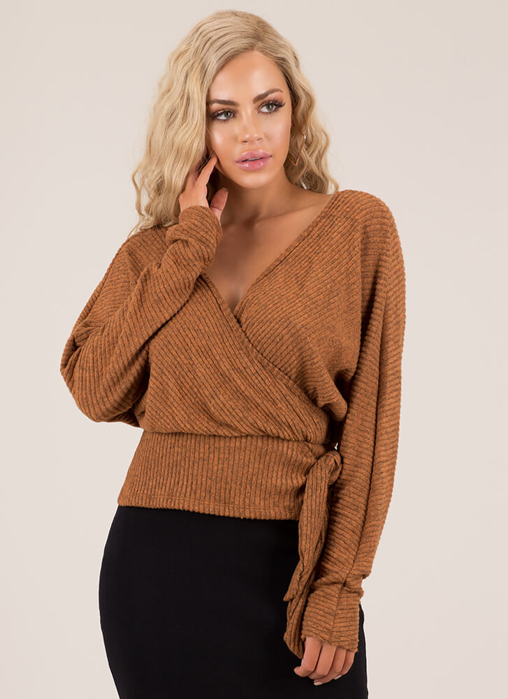 Effortless Ribbed Faux Wrap Top RUST