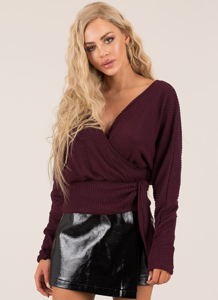 Effortless Ribbed Faux Wrap Top WINE