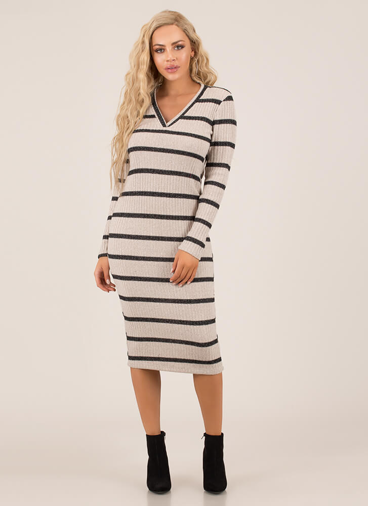 Simply Striped Fuzzy Knit Midi Dress TAUPEMULTI