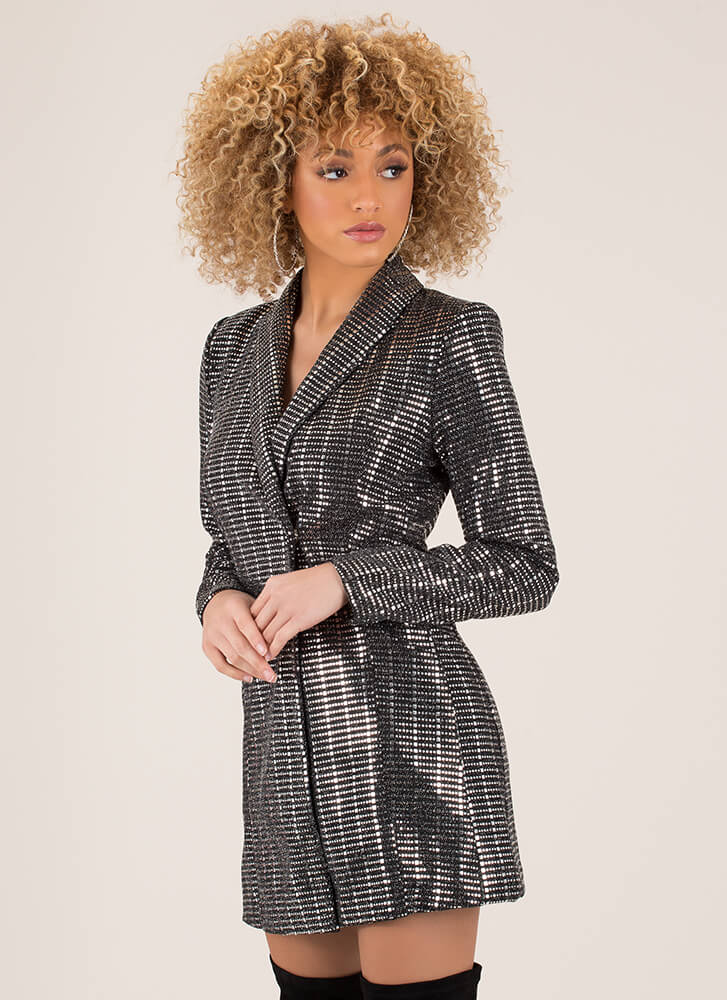 Disco Ball Sequined Blazer Minidress SILVER (You Saved $35)