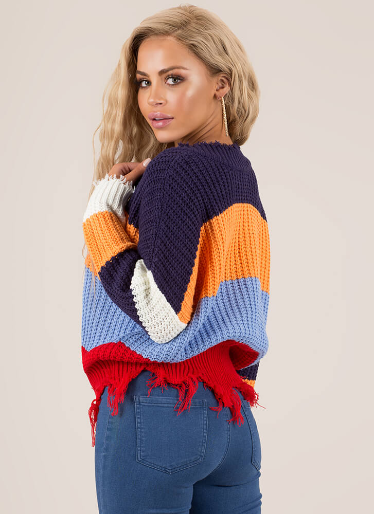 First String Fringed Colorblock Sweater BLUEMULTI