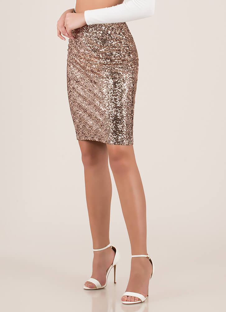Simply Stunning Sequined Pencil Skirt ROSEGOLD