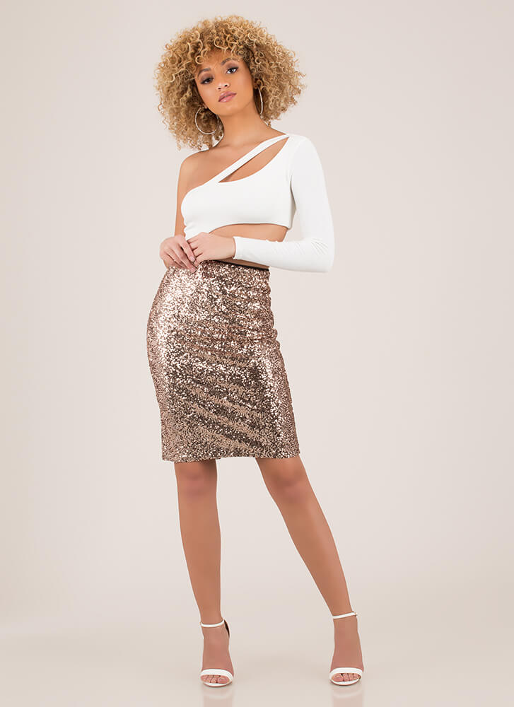 Simply Stunning Sequined Pencil Skirt ROSEGOLD (Final Sale)