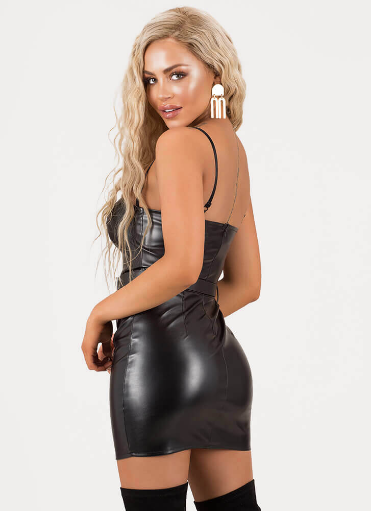 Let's Ride Belted Faux Leather Minidress BLACK