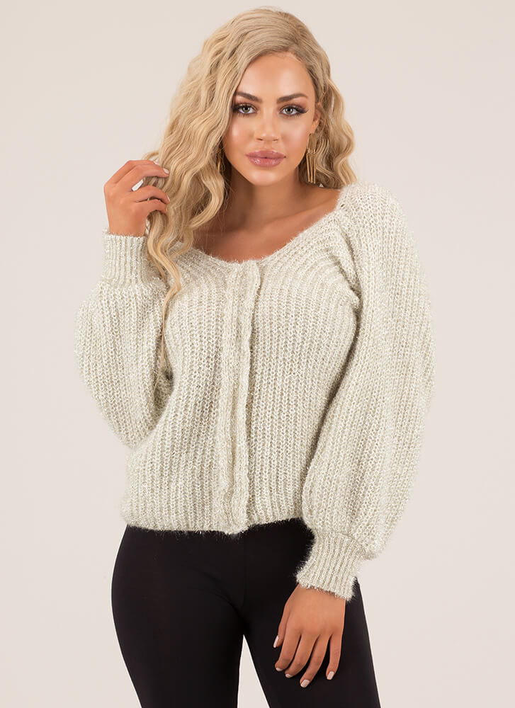 Sleeve It To Me Fuzzy Knit Sweater IVORY