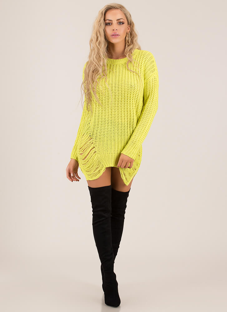 Distressing Me Out Knit Sweater NEONYELLOW