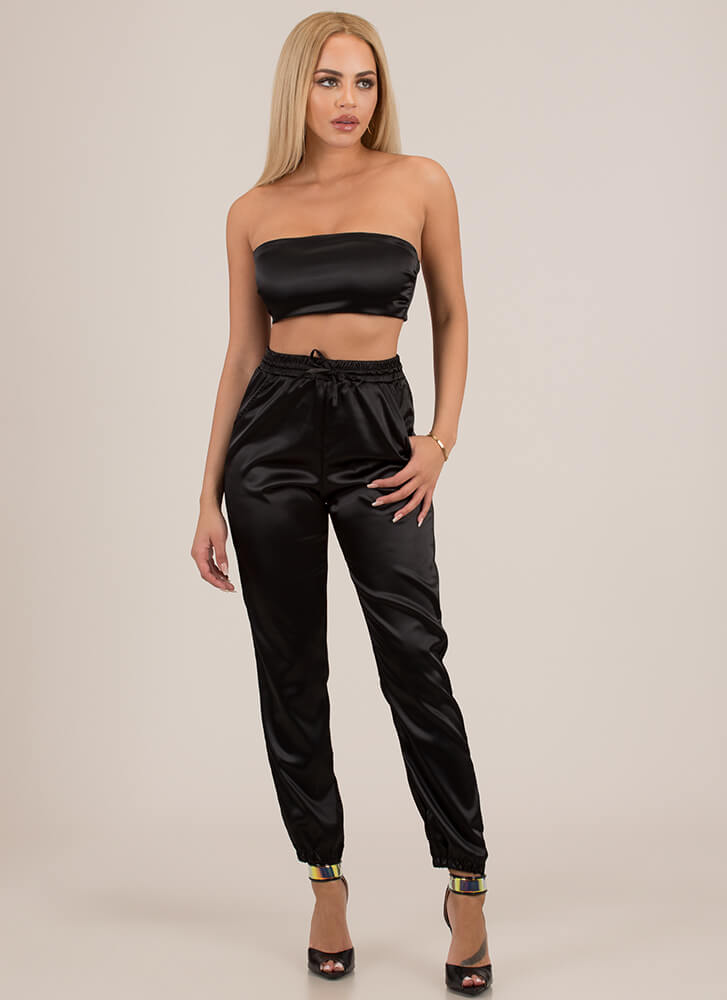 Sexy In Satin Tube Top And Jogger Set BLACK (Final Sale)