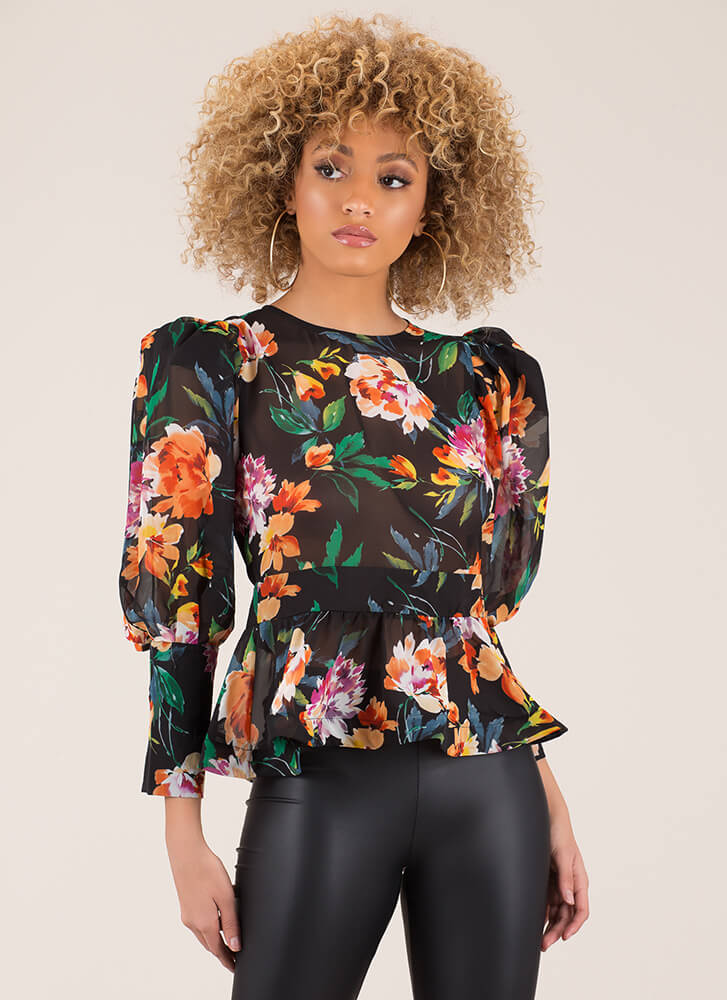In Bloom Puffy Sleeve Floral Blouse BLACK