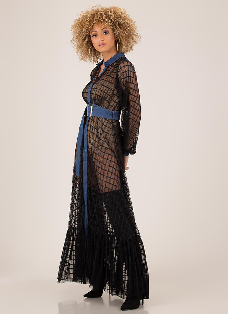 Denim Touch Belted Netted Mesh Maxi BLACK