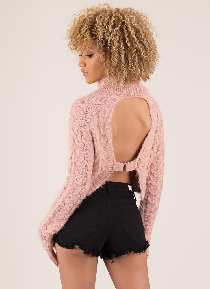 Fuzz-Worthy Open-Back Cable Knit Sweater PINK