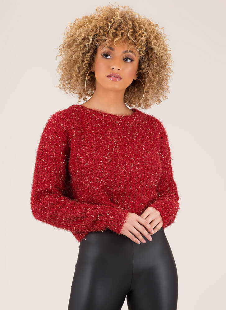 Sparklers Fuzzy Knit Cropped Sweater RED