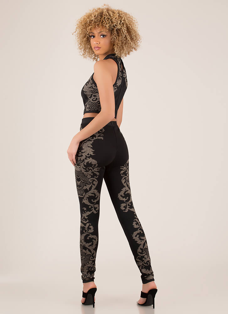 Scroll Call 2-Piece Bandage Jumpsuit BLACK