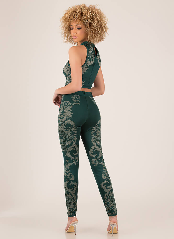 Scroll Call 2-Piece Bandage Jumpsuit HGREEN