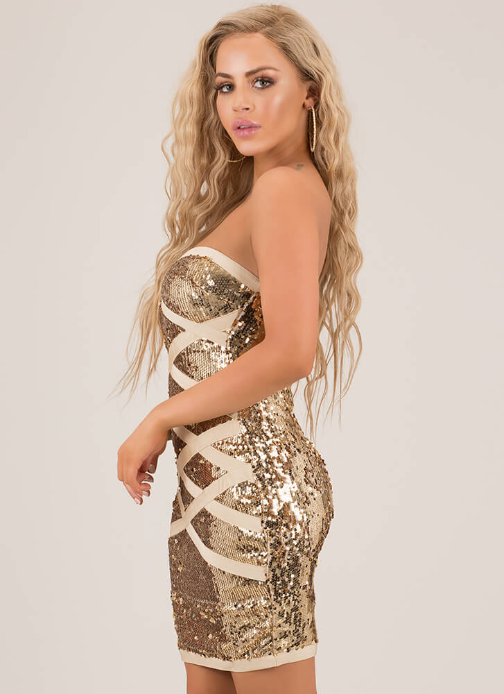 X's Beware Sequined Bandage Dress GOLD
