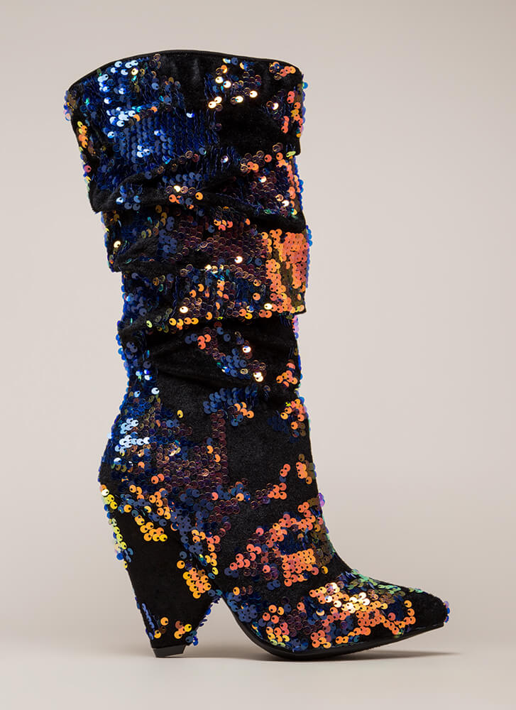Seeing Sequins Slouchy Velvet Boots BLUE