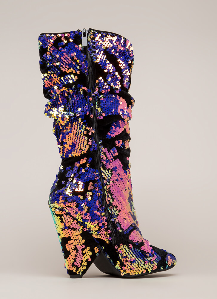 Seeing Sequins Slouchy Velvet Boots PINK