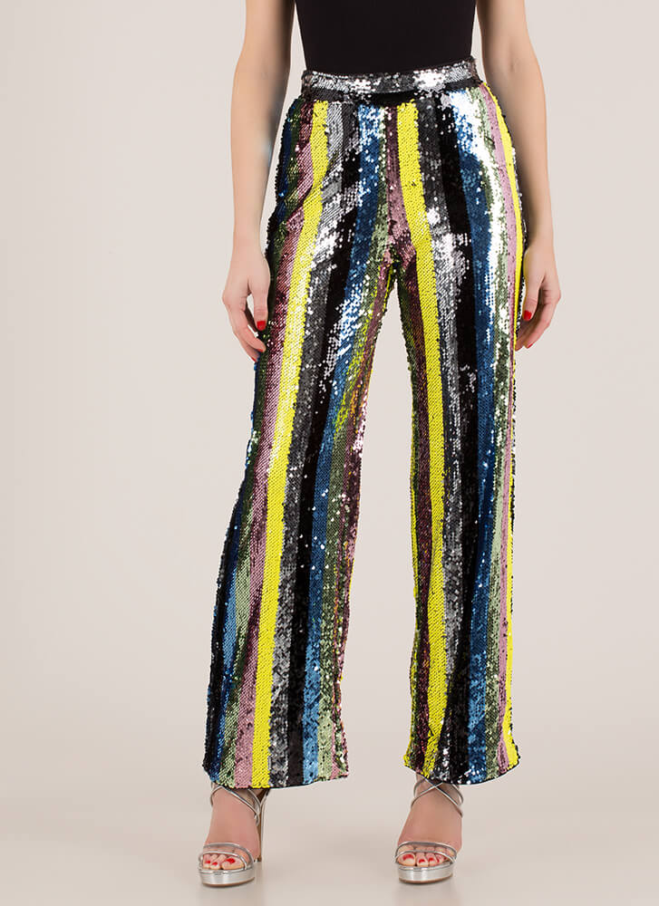 Sequins And Stripes Wide-Leg Pants YELLOW