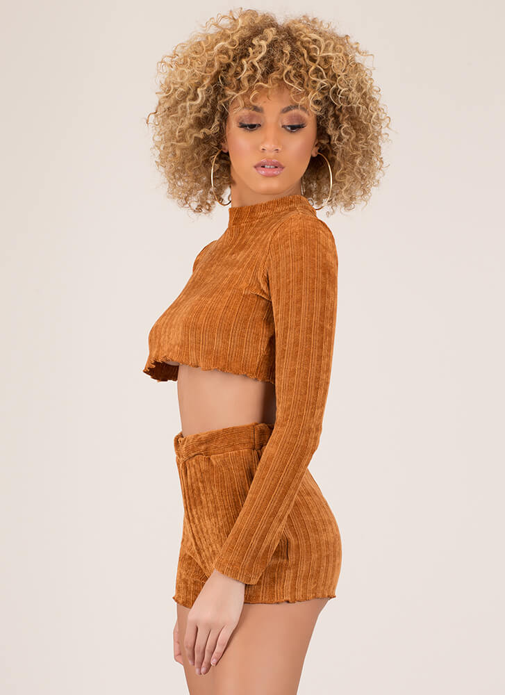 Knitty Bitty Ribbed Top And Shorts Set CAMEL