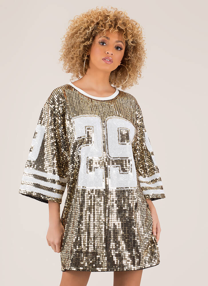 Football Friday Sequined Jersey Dress GOLD