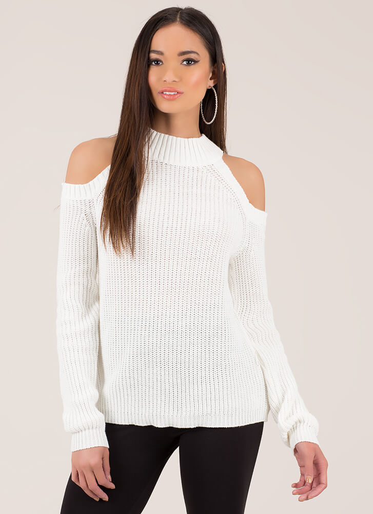 In From The Cold-Shoulder Knit Sweater IVORY