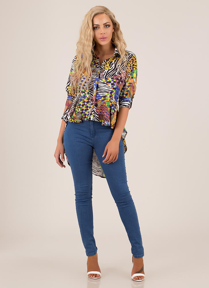 I Want It All High-Low Mixed Print Top MULTI