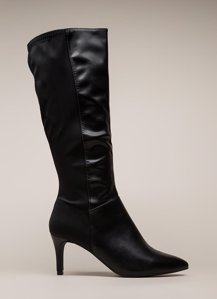 Longing For Pointy Faux Leather Boots BLACK (Final Sale)