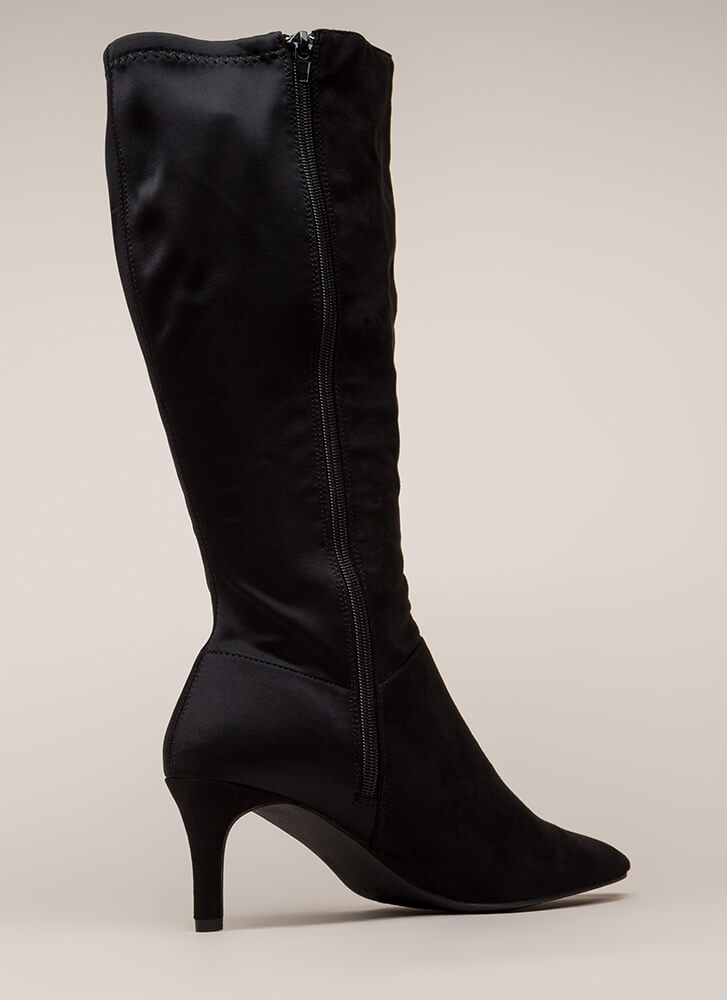 Longing For Pointy Faux Suede Boots BLACK