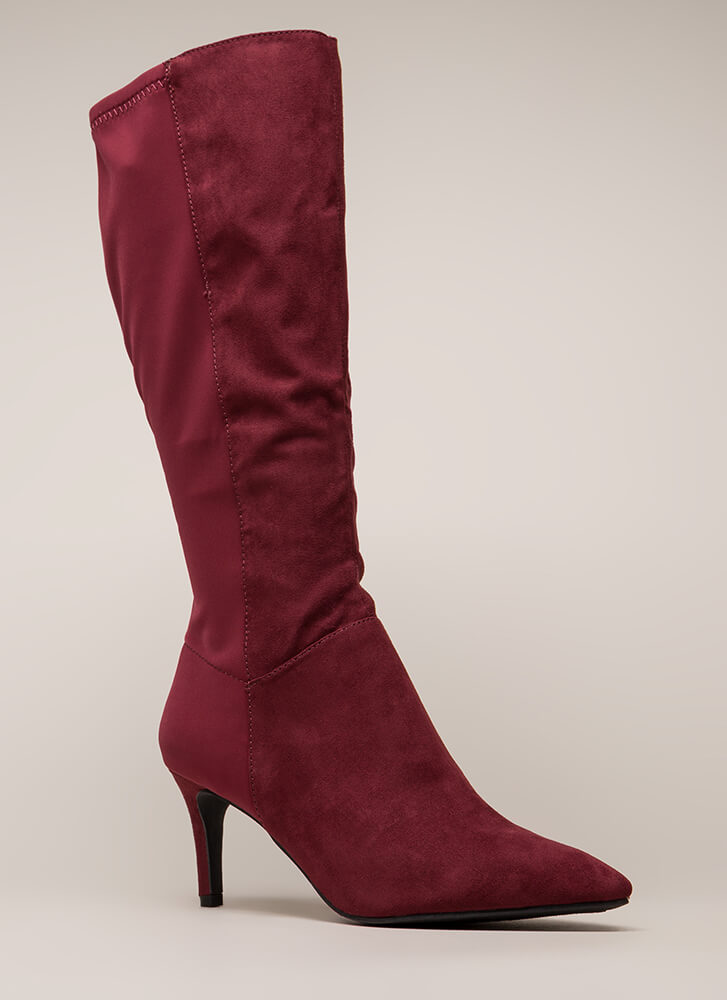 Longing For Pointy Faux Suede Boots BURGUNDY