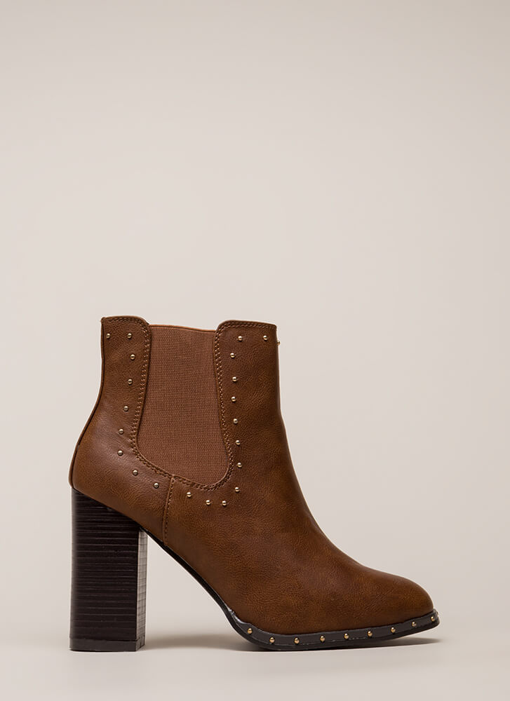 Big Upside Chunky Studded Booties CHESTNUT