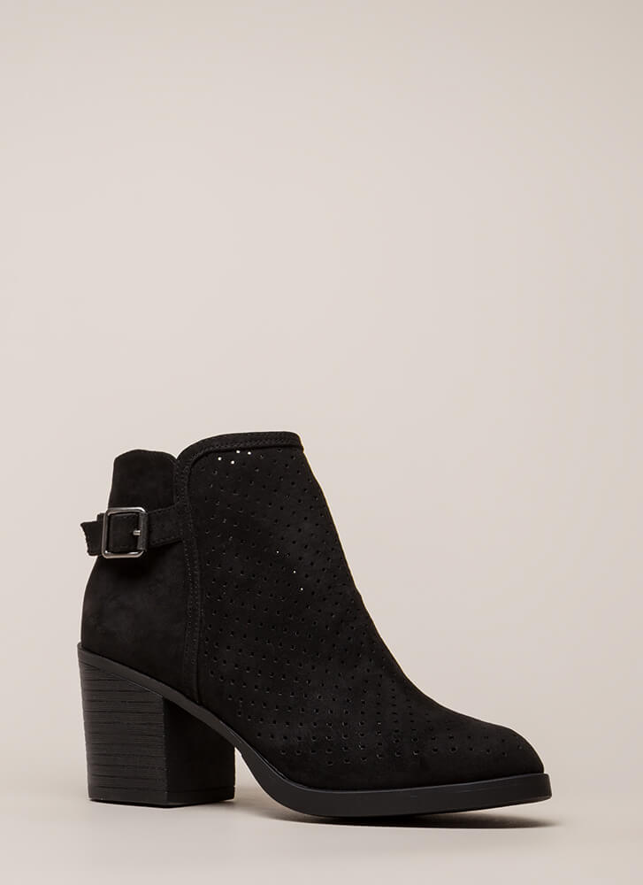 A Hole Lot Perforated Block Heel Booties BLACK