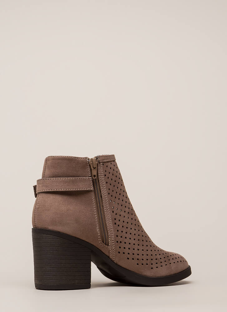 A Hole Lot Perforated Block Heel Booties LTTAUPE