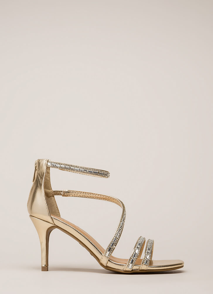 Strappy Holidays Metallic Jeweled Heels GOLD