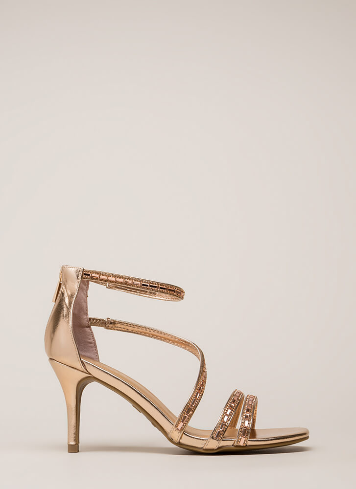 Strappy Holidays Metallic Jeweled Heels ROSEGOLD