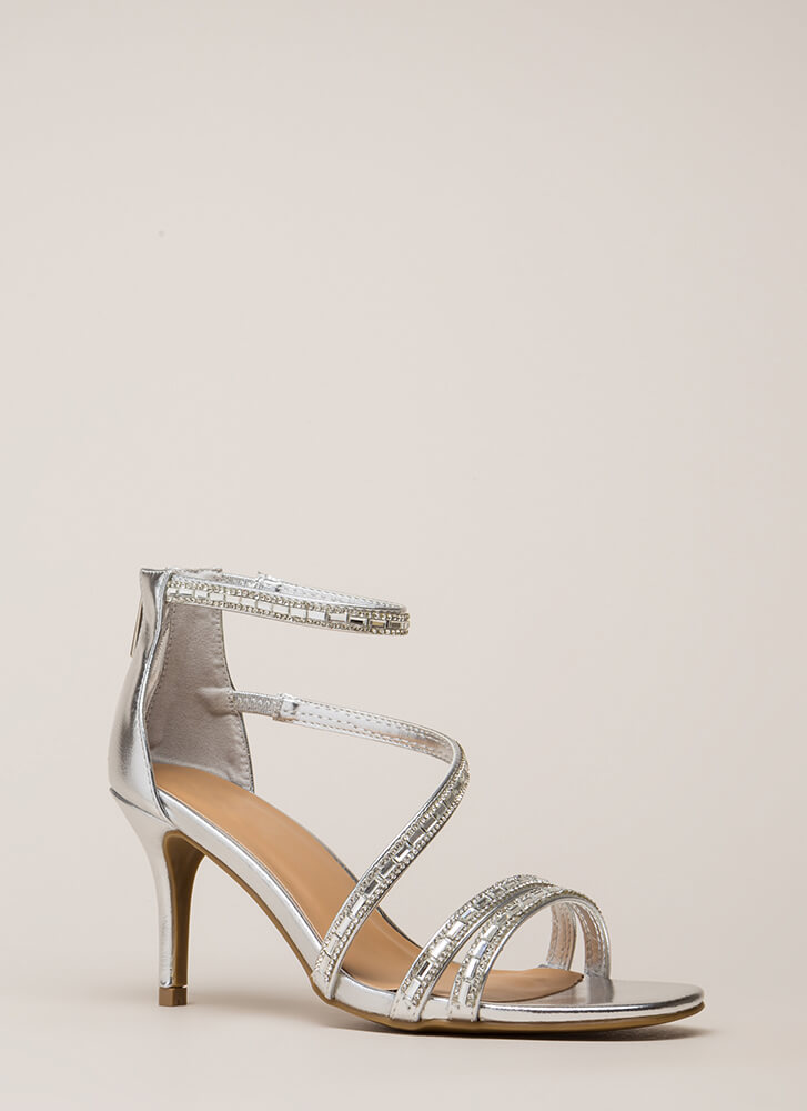 Strappy Holidays Metallic Jeweled Heels SILVER
